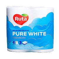 /Бумага туал Pure White 4 рул на гильзе 3х сл белый RUTA