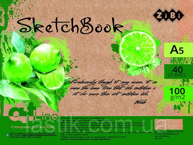 /Скетчбук А5 40 л 100 г/м2 кремовый блок на пружине зеленый ART Line, фото 2