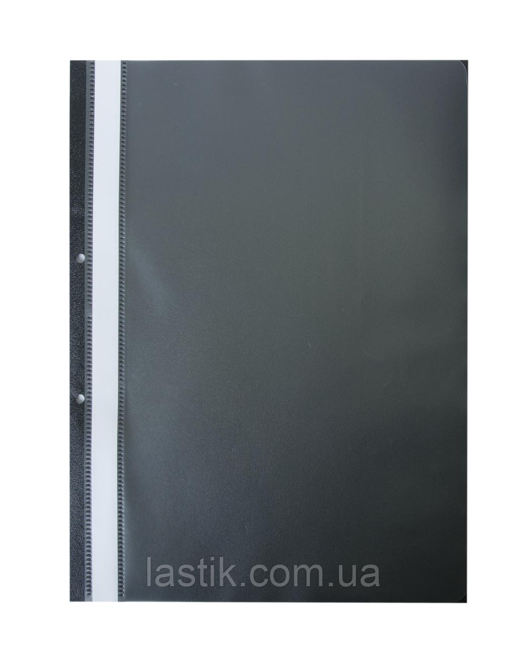 $Папкаскоросшиватель з механізмом вусики JOBMAX А4 110/110 мкм 2 отв 110/110 мкм чорна