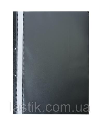 $Папкаскоросшиватель з механізмом вусики JOBMAX А4 110/110 мкм 2 отв 110/110 мкм чорна, фото 2