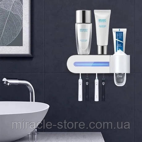 Ельтрафиолетовый стерилізатор автоматичний диспенсер для зубної пасти та щепјг Toothbrush Sterilizer, фото 2