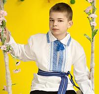 Вышиванка детская с синим орнаметом, фото 1