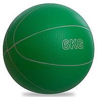 М'яч для кросфіта і фітнесу Медичний медбол 6 кг RECORD Гума Пісок Зелений (SC-8407-6)