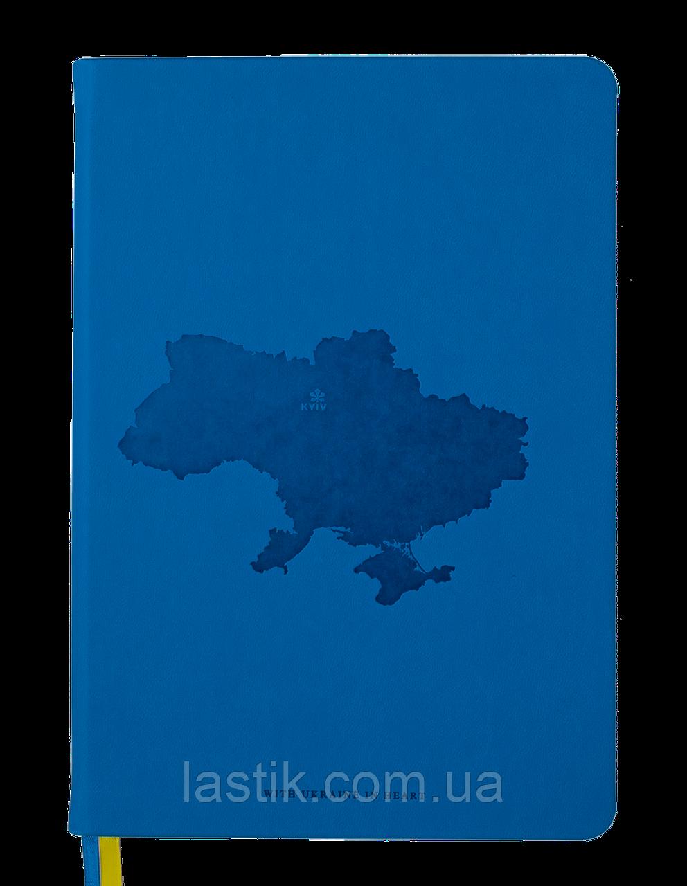 Блокнот деловой UKRAINE А5 96л клетка иск кожа синий