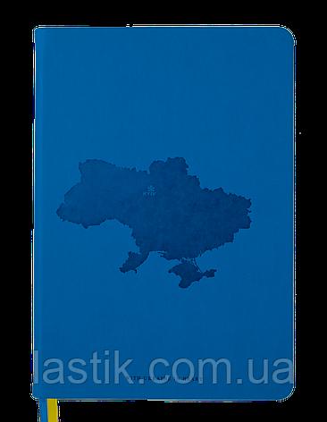 Блокнот деловой UKRAINE А5 96л клетка иск кожа синий, фото 2