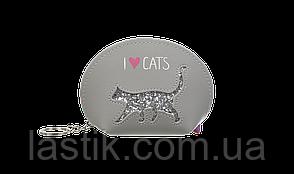 #Кейс для монет CAT LOVER125x85x45 см серый (декор: глиттерный кот)