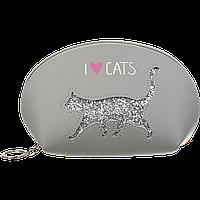 #Пенал CAT LOVER 21x12x8 см серый (декор: глиттерный кот)