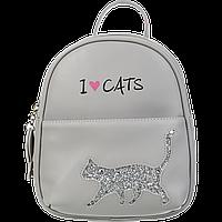 Рюкзак CAT LOVER 24x21x8 см серый (декор: глиттерный кот)
