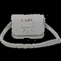 Сумка на плечо маленькая CAT LOVER 19x15x65 см серая (декор: глиттерный кот)
