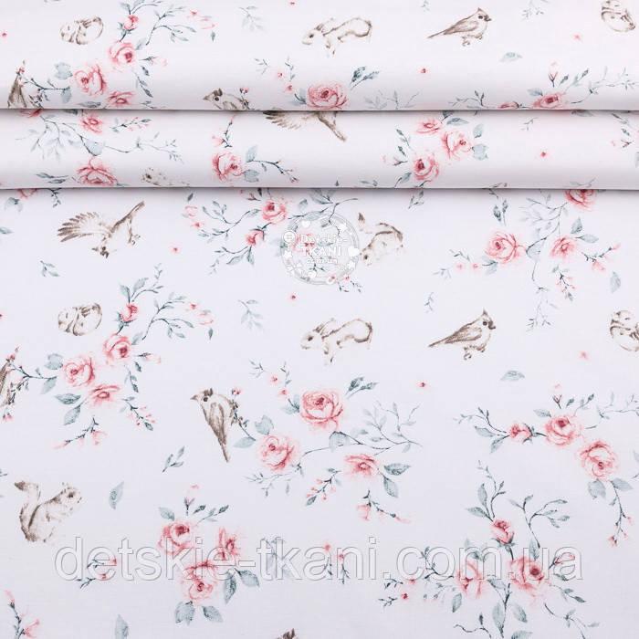 """Ранфорс шириною 240 см """"Троянди з пташками, зайчиками та білочками"""" на білому фоні (№3242)"""