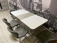 Стол обеденный Intarsio Cosmo 110(145)х68 см Белая Аляска/Индастриал