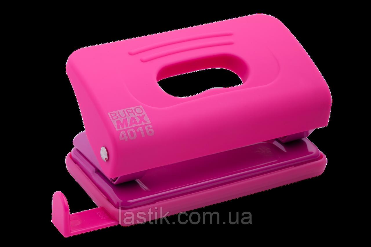 @Дирокол пластиковий RUBBER TOUCH до 10 л 120х58х59 мм рожевий