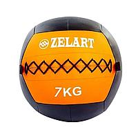 Мяч для кроссфита и фитнеса WALL BALL Медицинский медбол 7 кг ZELART Черный-оранжевый (FI-5168-7 )