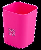 @$Стакан пластиковый для канц принадлежностей RUBBER TOUCH  розовый