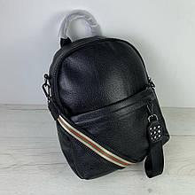 Рюкзак широкая застежка с шипами / натуральная кожа (2868) Черный