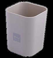@$Стакан пластиковый для канц принадлежностей RUBBER TOUCH  серый