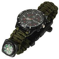 Часы-браслет паракорд GT для выживания цвет олива, фото 1