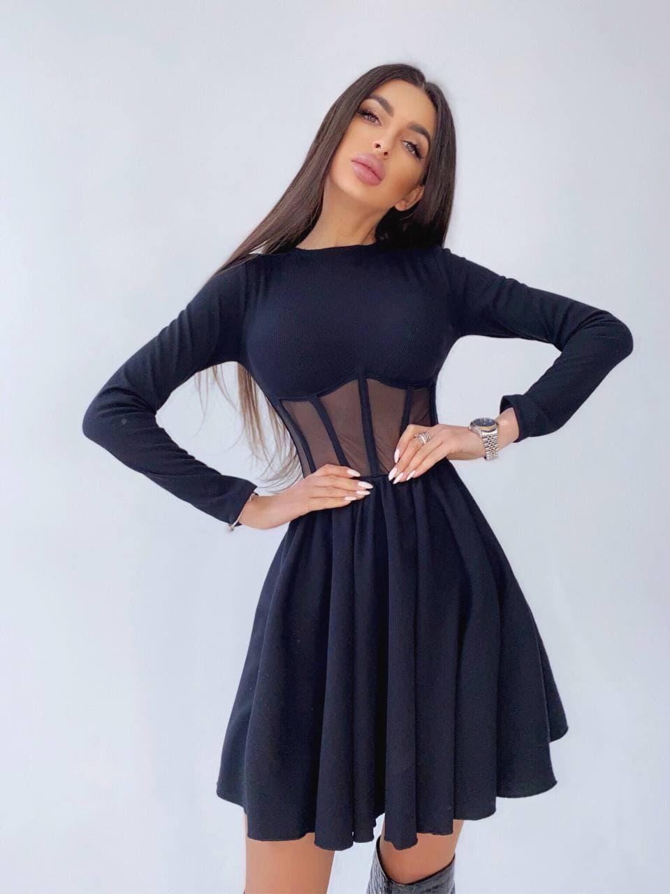 Приталенное платье черного цвета с корсетной вставкой и пышной юбкой-  солнцем (р. 42, 44) 66032046Е