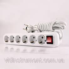 ElectroHouse Удлинитель 6 гнезд с кнопкой, длина 5м с заземлением