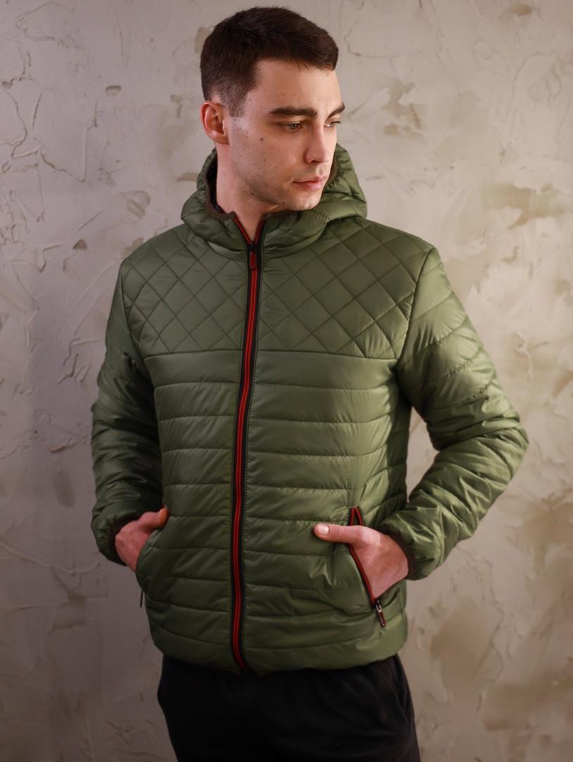 Мужская стеганная демисезонная куртка Хот цвета хаки