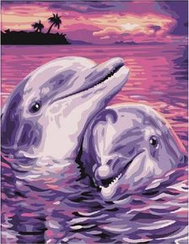 Картина по номерам 40х50 см Brushme Дельфинья пара (GX 7660)