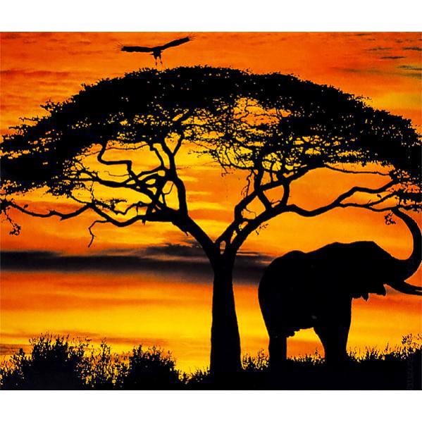 Картина по номерам 40х50 см DIY Африканский Слон на закате (FX 30382)