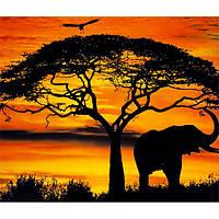 Картина по номерам 40х50 см DIY Африканский Слон на закате (FX 30382), фото 1