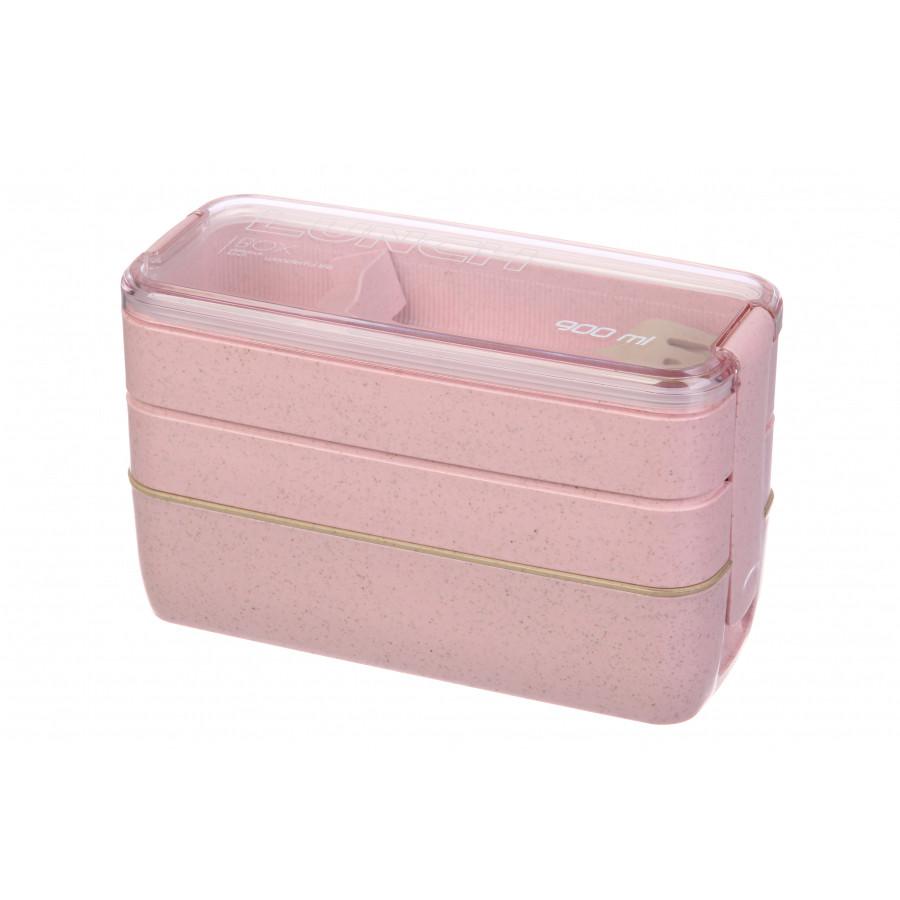Эко ланч-бокс трехуровневый 900 мл 64-279, розовый