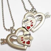 """Парные кулоны для влюбленных """"Половинки сердца""""., фото 1"""