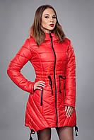 Зимняя женская молодежная куртка. Код К-64-12-16. Цвет красный.