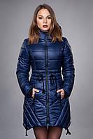 Зимняя женская молодежная куртка. Код К-64-12-16. Цвет темно синий.