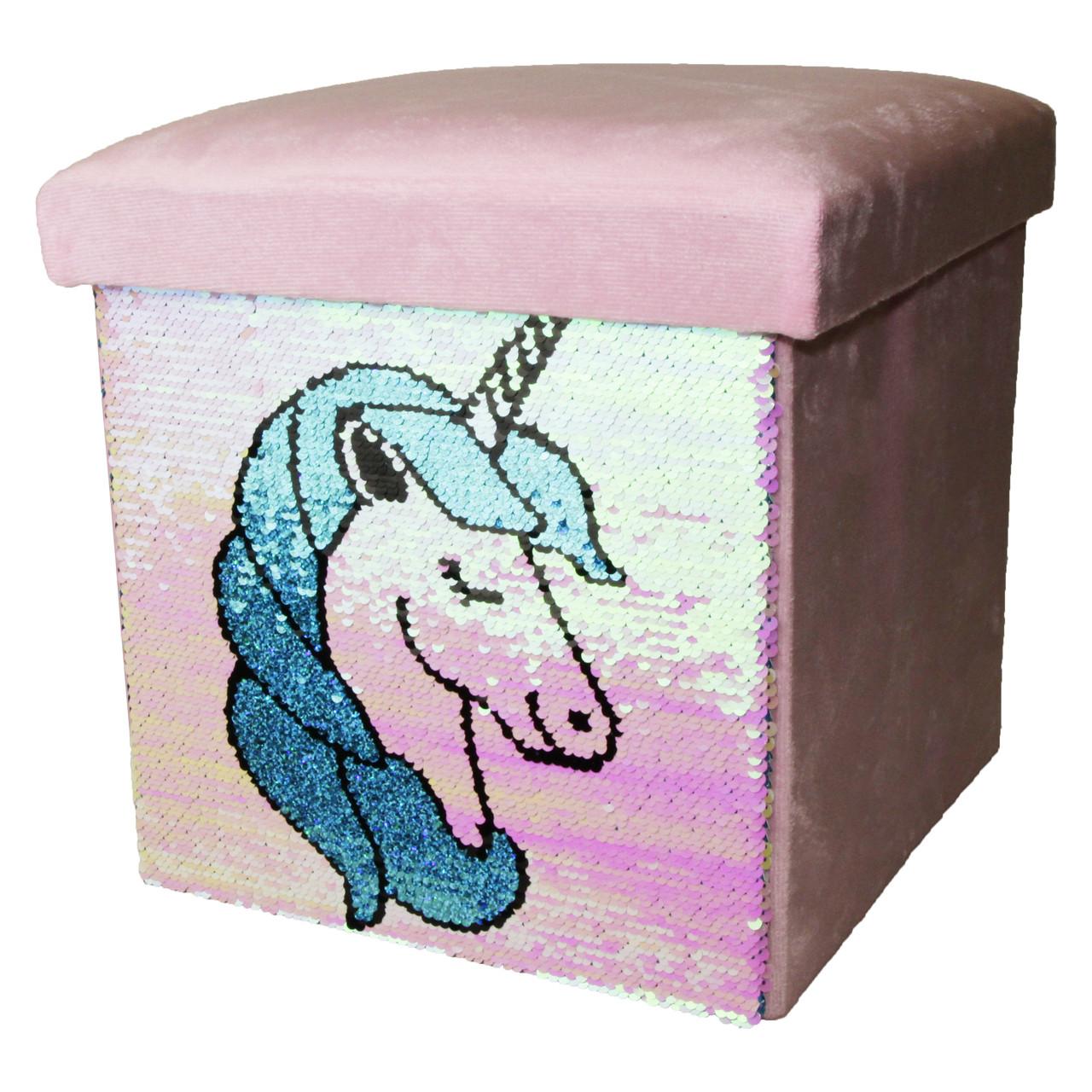 Корзина для игрушек MR 0003-1 (Розовый, единорог) пуф, 30-30-30см, пайетки