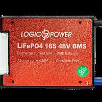 BMS плата LiFePO4 48V 16S 60A симетрія