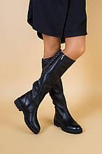 Женские зимние кожаные сапоги черные