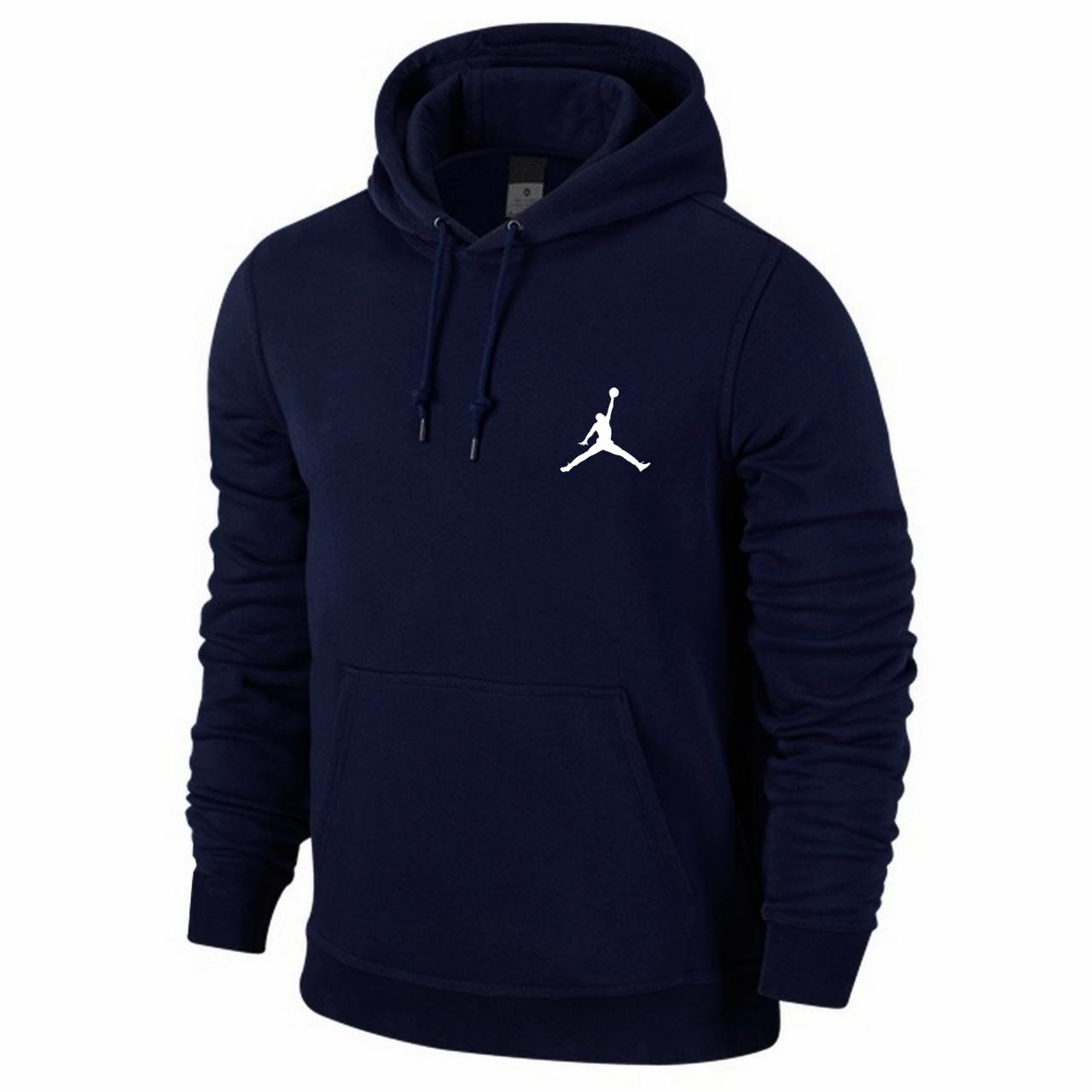 Мужская спортивная кофта кенгуру, толстовка Jordan (Джордан) синяя