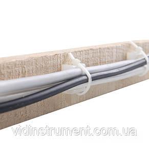 ElectroHouse Майданчик для стяжки (хомутів) самоклеюча 30х30 мм біла нейлон, фото 2