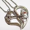 """Парные кулоны для влюбленных """"Половинки сердца"""" (ключик, замочек)."""