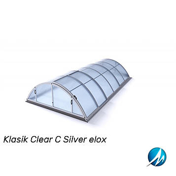 Павільйон для басейну Klasik Clear C 5,7х10,7х1,55м - Silver elox