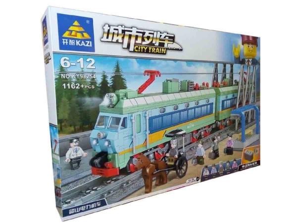Конструктор Kazi 98254 Электрический пассажирский поезд, 1162 дет., 6+, свет, звук
