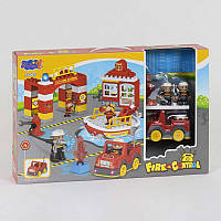 Конструктор 3805 (12/2) Пожежна Станція 56 деталей звук, світло в коробці