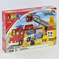 Конструктор JDLT 5152 (12/2) Пожежна машина 36 деталей 2 фігурки світло звук в коробці