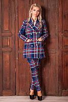 Модный женский удлиненный пиджак в клетку 931