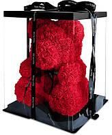 Мишка из 3D роз Zupo Crafts 25 см Красный + подарочная упаковка, фото 1
