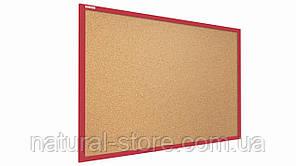"""Пробкова дошка 90х60см в червоній дерев'яній рамі TM """"ALL boards"""""""