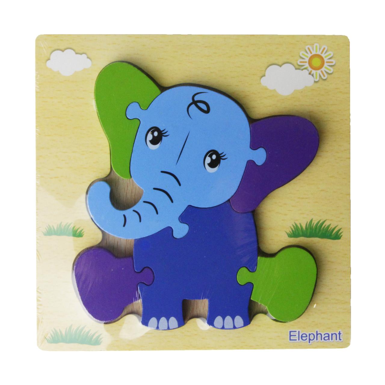 Деревянная игрушка Пазлы MD 2453-2 (Слон) 15-15см