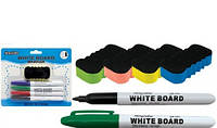 "Маркеры для доски в наборе ""White board""+губка."
