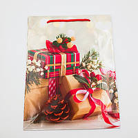 Пакеты подарочные бумажные ламинированные (новый год) большие 23*30*8 cм
