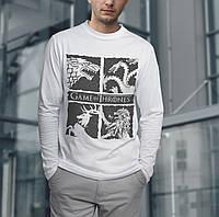 Модная футболка с длинным рукавом, мужская, хлопок с принтом GAME OF THRONES
