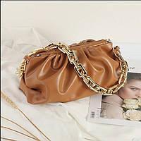 Сумка с цепью в стиле Bottega Veneta облако пельмень pouch тренд 2021 года модная сумка в белом цвете