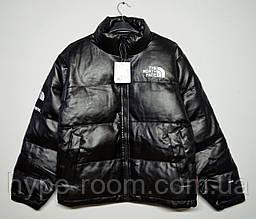 Мужская кожаная зимняя куртка The North Face черная
